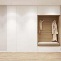 3d illustration. Entrance hall in the apartment with wardrobe. F